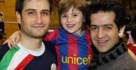 پویا امینی و پسرش ایلیا امینی در مسابقه فوتسال