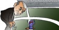 کاریکاتور ممنوعیت ورود دوربینهای سیمابه ورزشگاه
