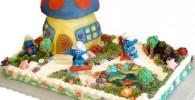 تزیین کیک دهکده اسمورف Smurf