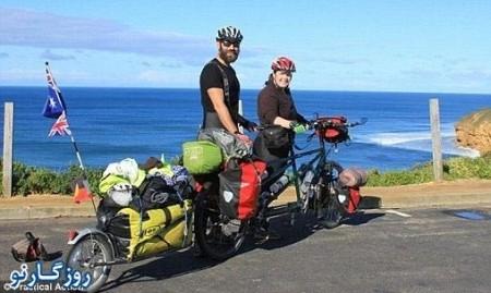 تصاویر زن و شوهری که دور دنیا با دوچرخه دونفره طی کردند