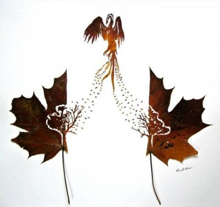 خلاقیت یک ایرانی بر روی برگ های درختان (عکس)