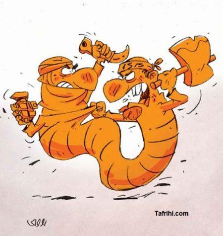 کارتون امروز روزنامه شرق دعوای عجیب و تن به تن داعش و طالبان