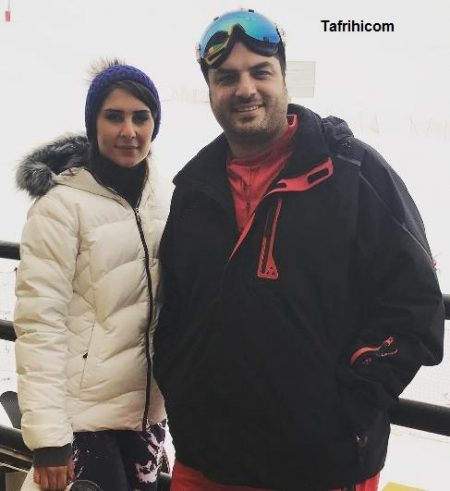 سام درخشانی و همسرش عسل امیرپور در پیست اسکی